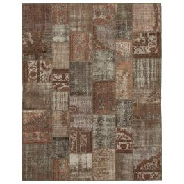 Handwoven Anatolian Brown Distressed Large Patchwork Carpet