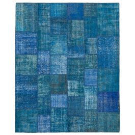 Hand-knotted Turkish Blue Bohemian Large Patchwork Carpet