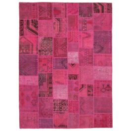 Handwoven Oriental Pink Colorful Large Patchwork Carpet