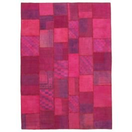 Hand-knotted Anatolian Pink Wool Large Patchwork Rug