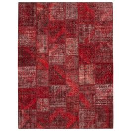 Handwoven Turkish Red Over-dyed Large Patchwork Rug