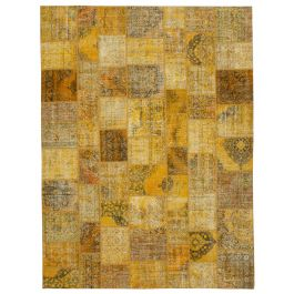 Hand-knotted Anatolian Yellow Rustic Large Patchwork Carpet