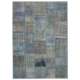 Hand-knotted Oriental Blue Large Patchwork Carpet