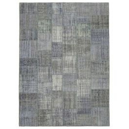 Hand-knotted Oriental Grey Large Patchwork Carpet