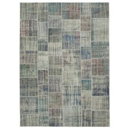 Hand-knotted Oriental Blue Faded Large Patchwork Carpet