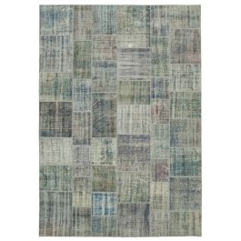 Handwoven Anatolian Blue Distressed Large Patchwork Rug