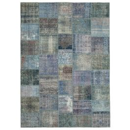 Handwoven Turkish Blue Over-dyed Large Patchwork Rug
