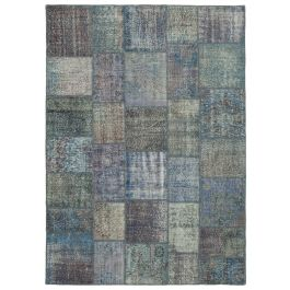 Hand-knotted Anatolian Blue Wool Large Patchwork Carpet