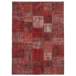 Handmade Oriental Red Overdyed Large Patchwork Rug