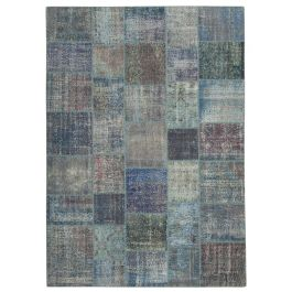 Handwoven Turkish Blue Traditional Large Patchwork Rug