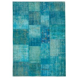 Hand-knotted Turkish Turquoise Colorful Patchwork Carpet