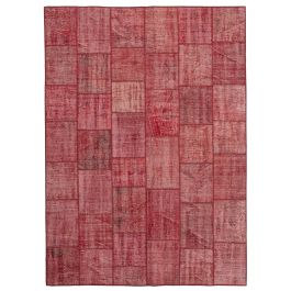 Hand-knotted Anatolian Red Rustic Patchwork Carpet