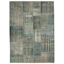 Hand-knotted Oriental Blue Traditional Patchwork Carpet