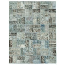 Hand-knotted Anatolian Blue Antique Patchwork Rug