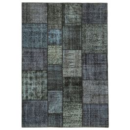 Hand-knotted Turkish Black Contemporary Patchwork Carpet