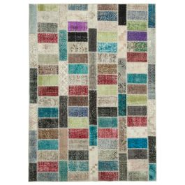 Handwoven Turkish Multi Over-dyed Patchwork Rug