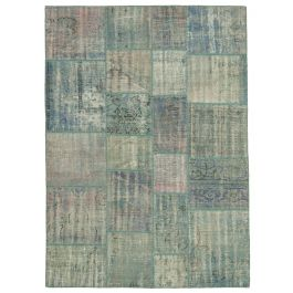 Handwoven Oriental Blue Overdyed Patchwork Rug