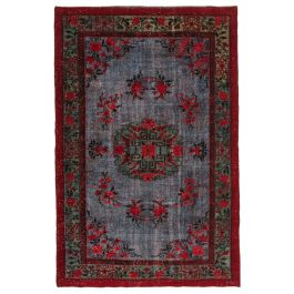 Hand-knotted Turkish Red Boho Carved Rug