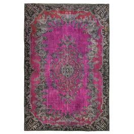 Hand-knotted Anatolian Pink Rustic Overdyed Rug