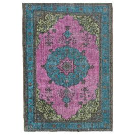 Hand-knotted Turkish Pink Bohemian Overdyed Carpet