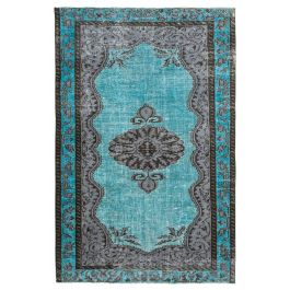 Handwoven Oriental Turquoise Faded Overdyed Carpet