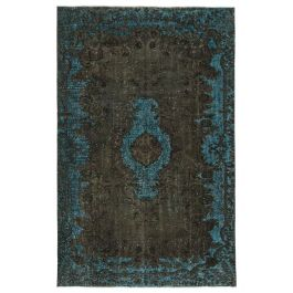 Hand-knotted Anatolian Brown Wool Carved Rug