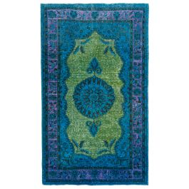 Hand-knotted Oriental Blue Faded Overdyed Carpet