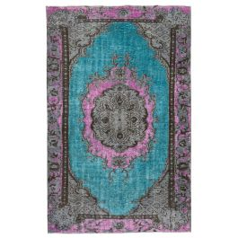 Handwoven Anatolian Turquoise Distressed Carved Rug