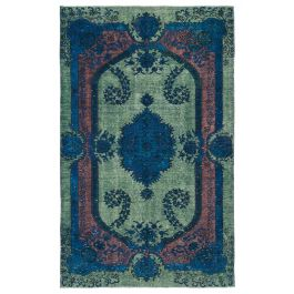 Handwoven Turkish Green Contemporary Overdyed Rug