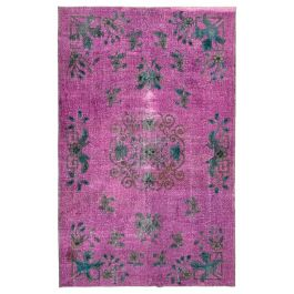 Handmade Oriental Purple One-of-a-Kind Over-dyed Rug