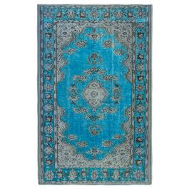 Hand-knotted Oriental Turquoise Antique Carved Rug