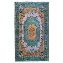 Handwoven Anatolian Blue Wool Carved Rug