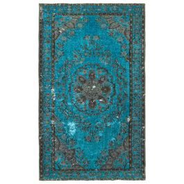 Hand-knotted Turkish Turquoise Low Pile Carved Carpet