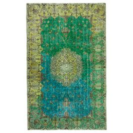 Handmade Oriental Green Antique Over-dyed Rug