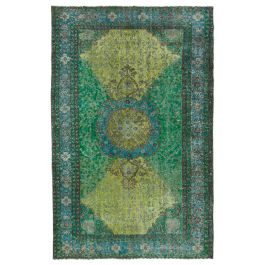 Handmade Turkish Green Contemporary Over-dyed Carpet