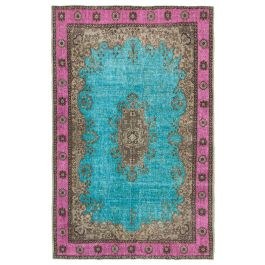 Hand-knotted Oriental Turquoise Traditional Carved Carpet