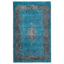Hand-knotted Oriental Blue Decorative Overdyed Carpet