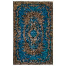Handwoven Anatolian Brown Distressed Carved Rug