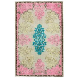 Hand-knotted Anatolian Pink Distressed Carved Carpet