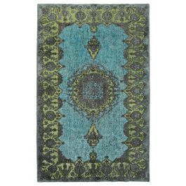Handmade Oriental Turquoise One-of-a-Kind Over-dyed Rug