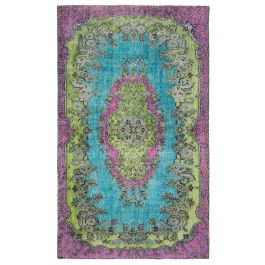 Handwoven Oriental Turquoise Antique Carved Rug
