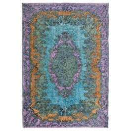 Hand-knotted Turkish Turquoise Boho Carved Rug