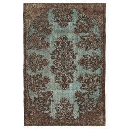Handwoven Oriental Brown One-of-a-Kind Carved Rug
