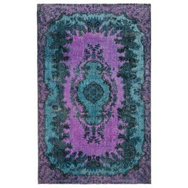 Hand-knotted Turkish Blue Low Pile Carved Carpet