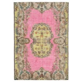 Hand-knotted Anatolian Pink Wool Carved Rug