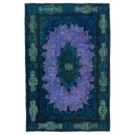 Handmade Turkish Blue Contemporary Over-dyed Carpet