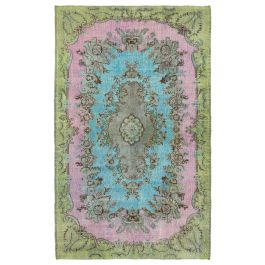 Handmade Anatolian Turquoise Distressed Over-dyed Rug