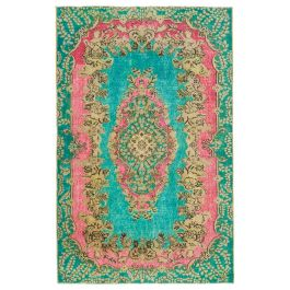 Hand-knotted Anatolian Turquoise Antique Overdyed Rug