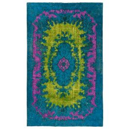 Handwoven Anatolian Turquoise Antique Carved Carpet