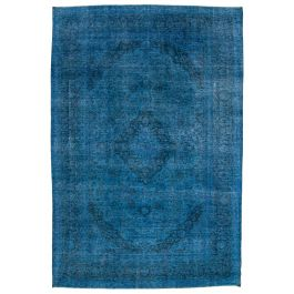Handwoven Turkish Blue Contemporary Large Overdyed Rug